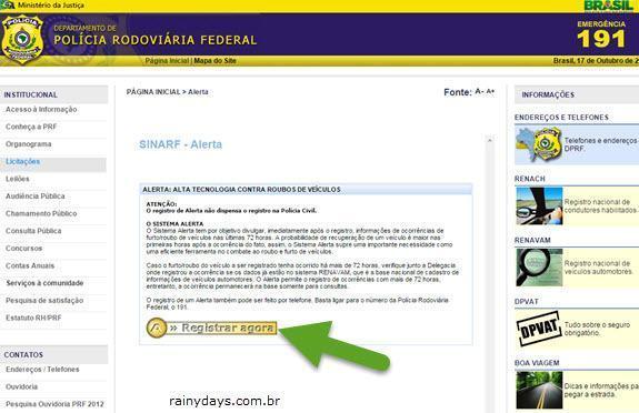 Como Registrar Carro Roubado no site DRPF