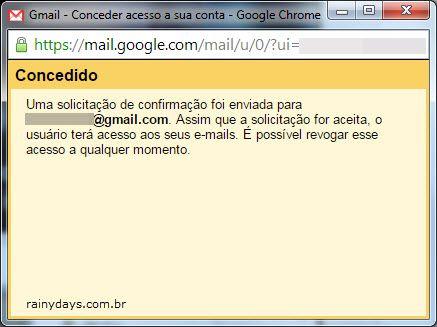 solicitação confirmação delegado Gmail