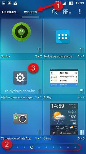 widgets Configurações Android