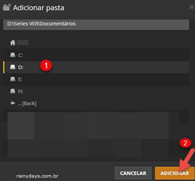 adicionar pasta do Windows no PLEX