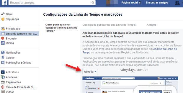Analisar publicações que amigos marcam você antes de exibir Facebook