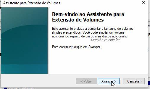 Assistente para extensão de volumes apagar partição Windows