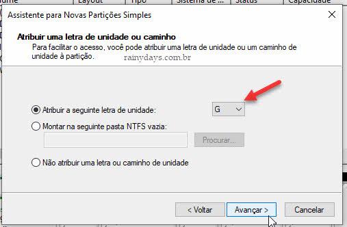 Atribuir uma letra de unidade caminho partição Windows