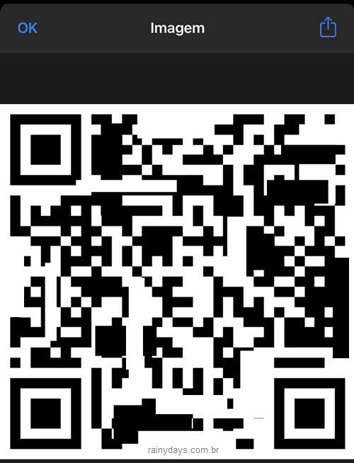 Código QR da conexão WiFi criado no app Atalhos iPhone