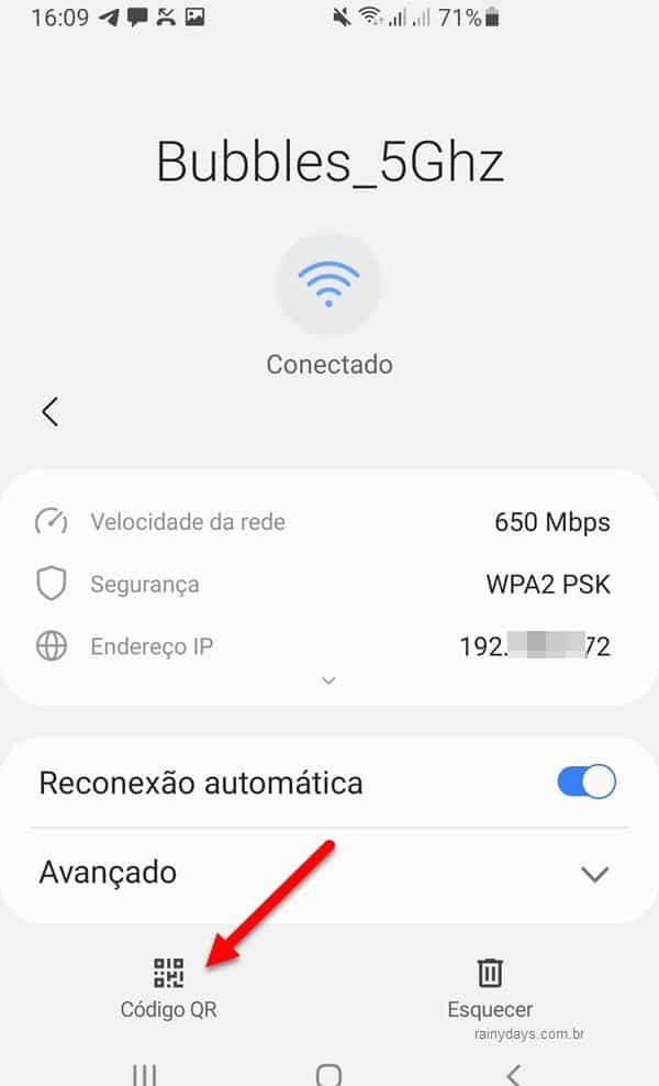 Código QR da conexão WiFi no Android