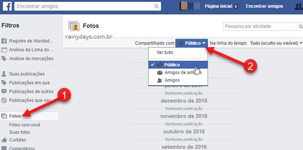 Como saber se fotos do Facebook estão públicas