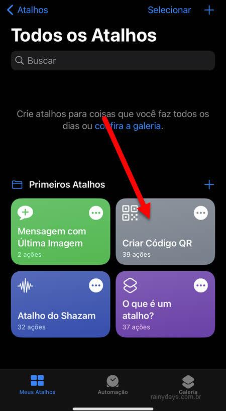 Criar código QR no app Atalhos do iPhone