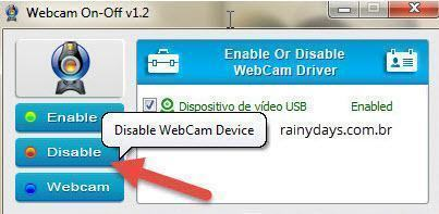 Como desligar e ligar webcam rapidamente 2