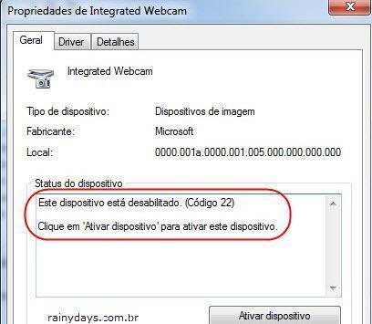Desligar e ligar webcam rapidamente