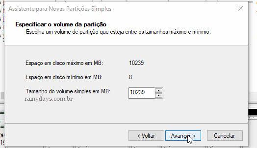 Especificar volume da partição Windows