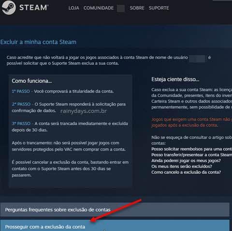 Prosseguir com exclusão da conta, excluir conta do Steam