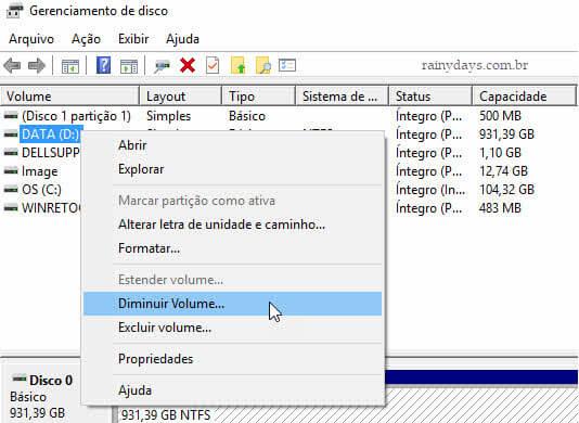 Gerenciamento de disco Diminuir volume Windows