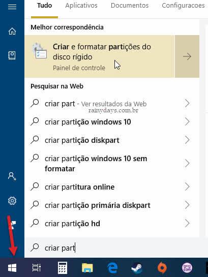 Menu iniciar Criar e formatar partições do disco Windows