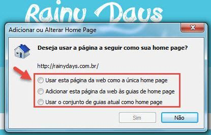 modificar página inicial do Internet Explorer 2