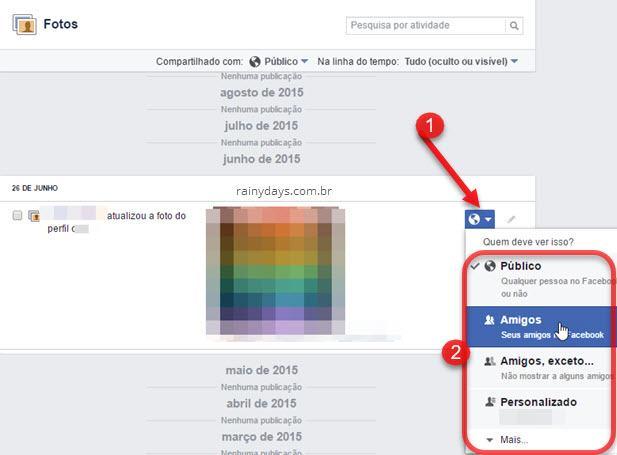 Modificar público de fotos qeu estão públicas Facebook