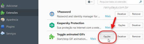 opções Toggle Animated GIFs Firefox