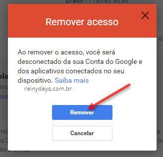 Remover acesso de dispositivo na conta Google