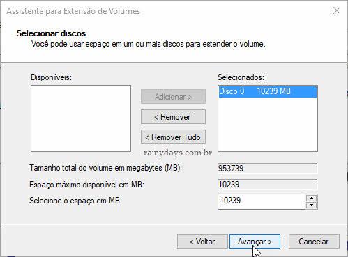 Selecionar discos para estender volume partição Windows