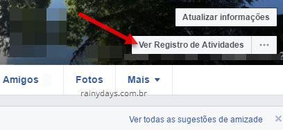 Ver Registro de Atividades página de perfil Facebook