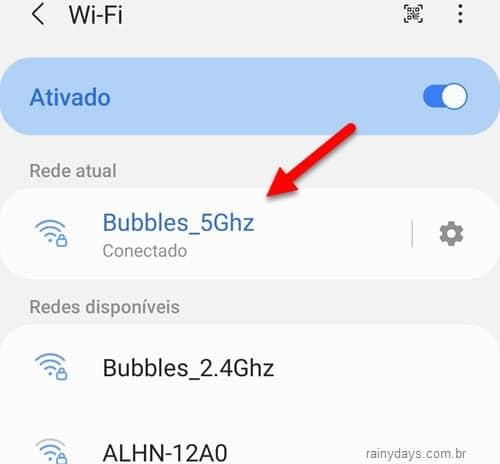 WiFi toque na sua conexão que está conectado no momento Android