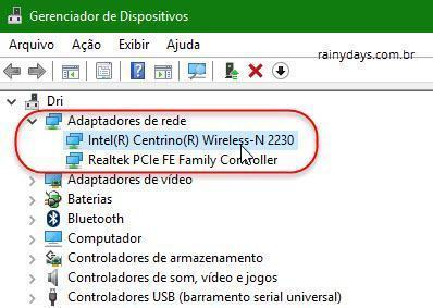 adptadores de rede no Windows