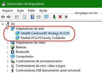 adptadores de rede no Windows