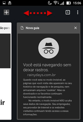 alternar entre abas normal e anônima Chrome Android
