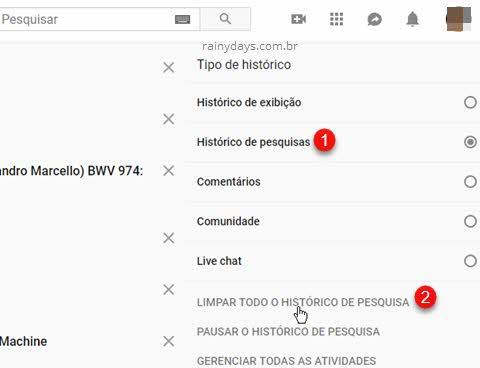 Apagar todo histórico de busca do YouTube computador