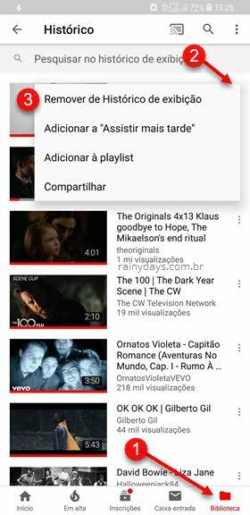 Apagar vídeo do histórido de exibição aplicativo YouTube Android iOS