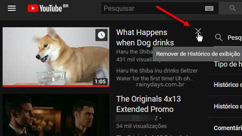 Clique no x para remover vídeo do histórico de exibição do YouTube
