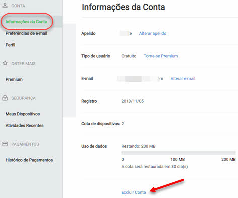 Página AirDroid, como excluir conta do AirDroid
