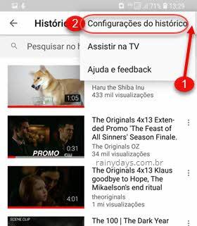 Configurações de Histórico aplicativo YouTube