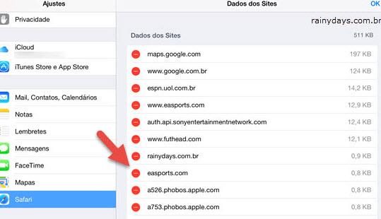 Imagem mostrando como excluir cookie de um site no Safari iPhone