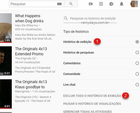 Excluir todo histórico de exibição do YouTube computador