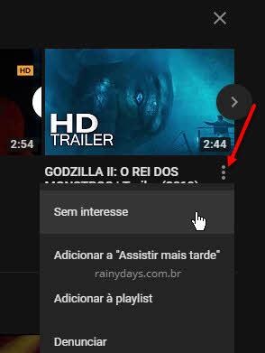 Marcar vídeo para não ser recomendado no YouTube, sem interesse