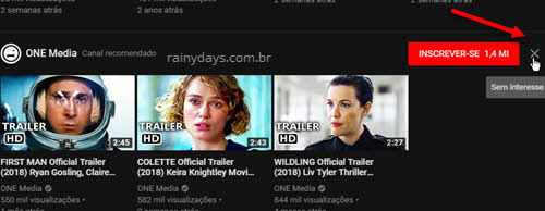 Remover canais recomendados do YouTube e limpar histórico