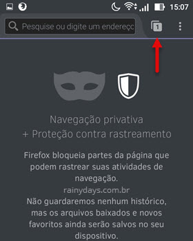 Usar navegador em modo anônimo Android Firefox
