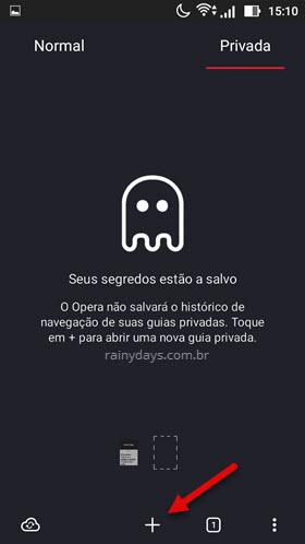 Usar navegador em modo anônimo Android Opera