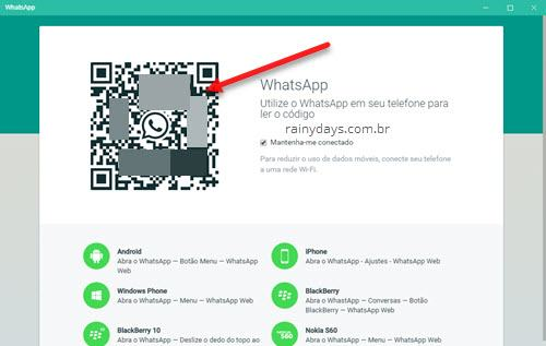 código qr do WhatsApp Desktop