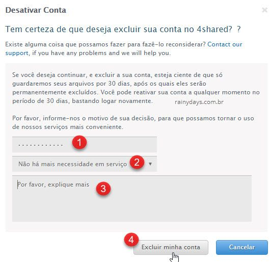 Como excluir conta do 4shared