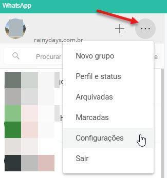 Configurações WhatsApp para computador
