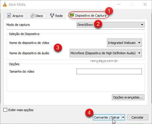 Converter/salvar captura webcam VLC