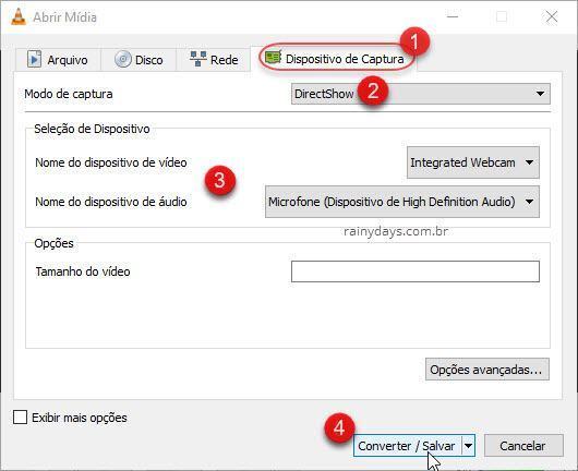Converter/salvar captura webcam VLC