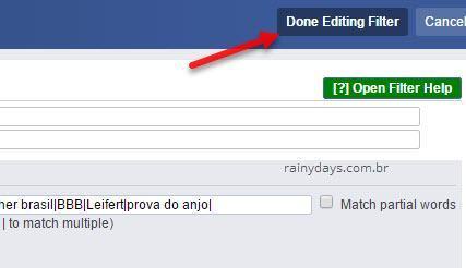 editar filtro para bloquear BBB do Facebook Social Fixer