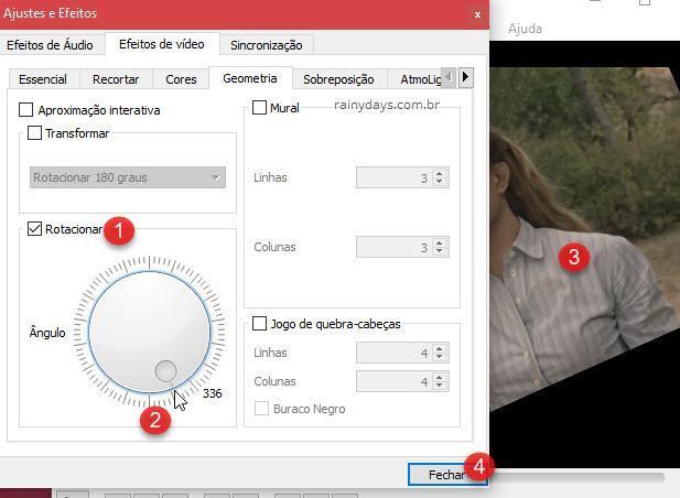 Efeitos de vídeo Geometria Rotacionar