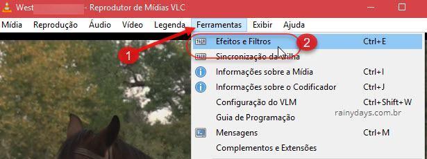 Ferramentas Efeitos e Filtros do VLC