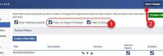 filtras páginas linha do tempo grupos Facebook Social Fixer