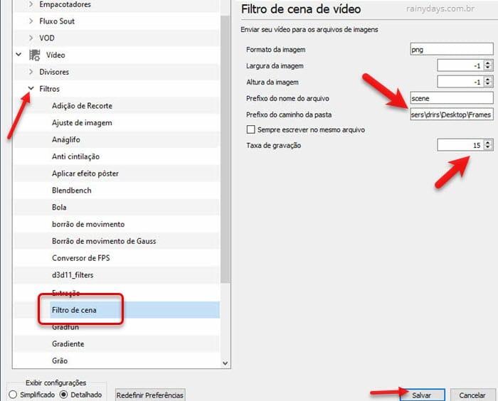 Filtro de cena de vídeo VLC copiar caminho da pasta para extrair frames de um vídeo