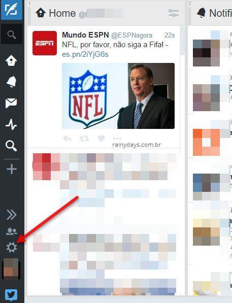 icone engrenagem configurações Tweetdeck