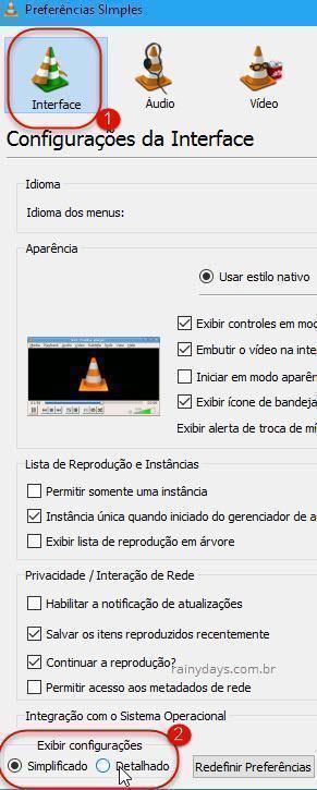 Preferências Detalhadas VLC